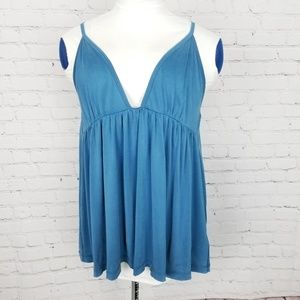 Free People|Blue Plunge Neckline Flowy Tank Top